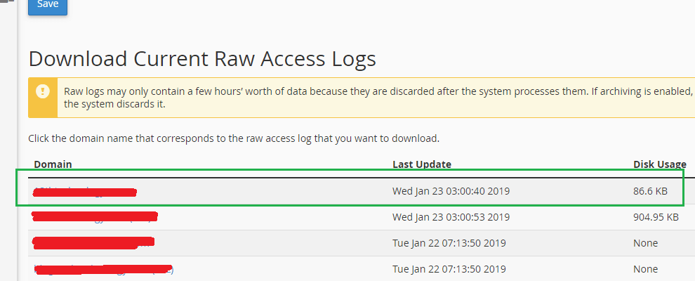 Download Current Raw Access Logs