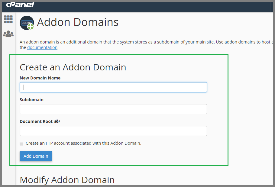 Addon Domains screen